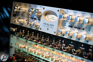 The relatively small amount of outboard at Sticky Studios includes this Avalon voice channel, M‑Audio Profire 2626 interface and Audient ASP008 eight‑channel preamp.