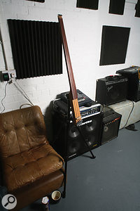 The 'stick' electric double bass, played through a hardware Auto-Tune unit, is often doubled with a Hofner violin bass.