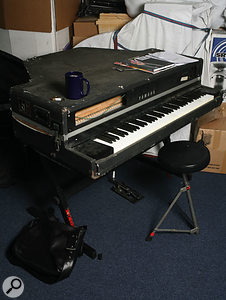 """I bought this Yamaha CP70 piano to use at gigs, but that was just a ridiculous idea. I've modified it quite a bit. It's got a piezo pickup under each string, and they're chained together and output to a jack and then to another preamp that I had made, but I need to get it built back into the case. It's characterful and it's on quite a few things on the album, but it can be temperamental."""