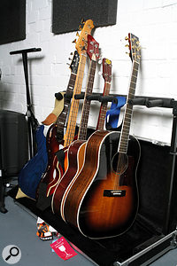 Some of Jim Moray's guitars, including a custom Atkin acoustic (right) and 'violin' bass (centre).