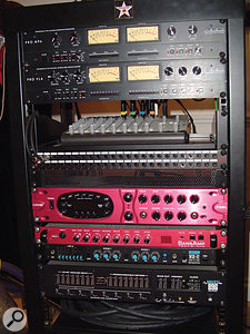The outboard rack in John Fryer's home studio, with (from top) ART Pro MPA preamp and Pro VLA compressor, three guitar processors — Line 6 Pod XT Pro, Sansamp PSA1 and Washburn WSR42 — and MOTU 896 recording interface.
