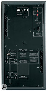 The rear panel of the O410 includes an 'acoustical controls' section for room calibration, as well as aparametric equaliser.