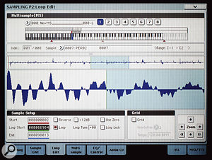 Looping a sample in one of the OASYS's sample-editing screens. A full range of audio-editing options is provided, and the large display makes the process easy.