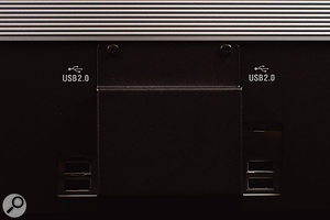 The multiple USB connectors on the back panel are accompanied by this mysterious blanking panel, behind which lurks a standard video output connector.