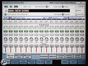 The built-in sequencer's Mixer page.