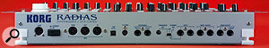 The Radias has a fairly conventional back panel, with the usual MIDI trio, USB connector, and quartet of outputs, plus a stereo input pair with one switchable input level — but there are one or two oddities. Firstly, there's that non-standard power supply socket on the left, then there's the 'To Kybd' connector in the centre, which, as the cryptic abbreviation suggests, is where the multi-pin cable goes which connects the module to the optional keyboard. Finally, there's a dedicated capacitor mic input.