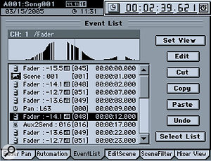 Detailed editing of audio and automation data is facilitated by a waveform view (top) and detailed automation editor (above).