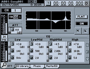 This dedicated screen provides a detailed view of the Equaliser curve and parameter settings.