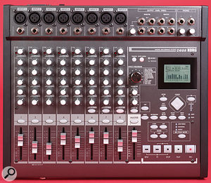 The D888 has a traditional and very clear control layout. Main channel strips (left) comprise Trim pot and Peak LED, three knobs for High, Mid and Low EQ bands, effect-send level pot for the internal effect, Pan pot, channel on/off button, and 45mm fader. Features to the right of the panel include the small LCD, the rotary effect-selector knob giving access to one of 11 effect treatments, the transport section, and Marker storage and editing facilities. Most facilities have a dedicated front-panel control, minimising menu-surfing. Across the back edge of the front panel are the channel inputs, each with an XLR and a jack socket, and the output section. In one mode, the latter jack sockets can be configured as direct outputs for the D888's eight tracks. A nice touch is two headphone outputs with individual level controls.