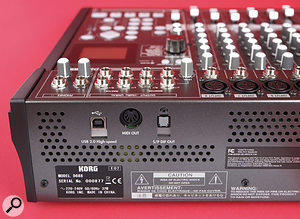 The rear panel is rather bare, hosting just the power switch and mains inlet, plus three other sockets unambiguously labelled MIDI Out, S/PDIF Out (optical format) and USB 2.0.