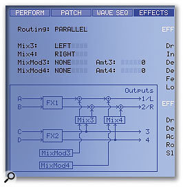 Placing the effects processors in series (above), and in parallel (shown here).