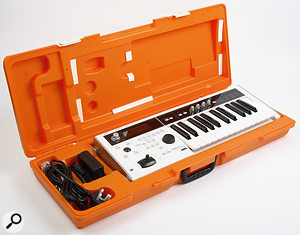 The Micro X with its orange carry case -- a thing that can only be described as 'ridiculously funky'.