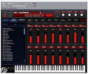 The Micro X's editor software has many screens for editing different sets of functions. This one, the Multi-programming screen, makes it easy to set up the main performance parameters for a Multi patch, with virtual knobs for pan and sliders for volume.