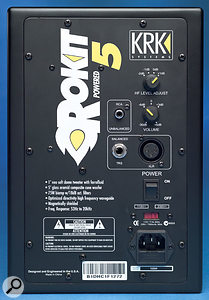 The rear panels of the Rokit 5 and Rokit 8 offer identical connectivity and configuration controls.