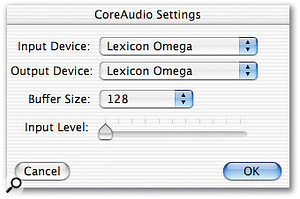 The Omega's ins and outs as they appear in Deck SE's Core Audio Settings window.