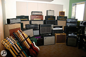 The Amp Room, where Line 6 conduct their modelling tests, features a bewildering array of old amps and guitars.