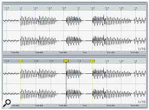 Part of the bass line before and after timing correction. The bar and beat markers have been warped so that notes fall on the grid.