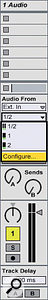 You can change your audio interface settings by clicking the 'Configure' option in the Audio From drop-down menu.