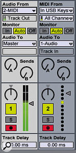 The MIDI track has a USB keyboard chosen as its input, and is sending the output to audio track one. The audio track is receiving its input from MIDI track two, and sending its audio to the Master out. As both tracks are recording simultaneously (Ctrl-click to enable multiple record buttons), both are record-enabled and Monitor is set to Auto.