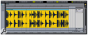 A 120bpm loop has been dragged into the Arrangement view, and the tempo has been set to 120bpm.