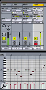 Data is being recorded via a MIDI track (four), and sent to channel three of the MIDI track (one) containing the instrument.