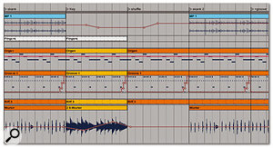 Here we can see part of the Arrangement that resulted from carrying out a global recording of the Session View.