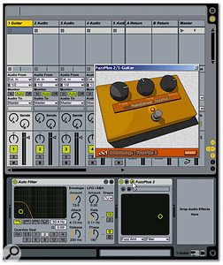 The track called 'Guitar' is selected and the Track view is visible, which shows the plug-ins inserted into this track — the Auto Filter that comes with Live and the AudioDamage FuzzPlus 2 free VST plug-in. Note that the FuzzPlus 2's GUI is available for editing, because the cursor has clicked on the plug-in's 'Edit Panel' button (the one that looks like a wrench).