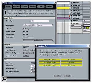 Selecting Configure from the Input Channel field brings up Preferences. Here, Input Config has been selected so that all inputs from the Presonus Firebox interface are active and available as inputs for recording.