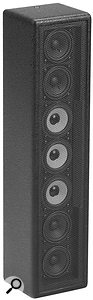 The EAW CLA37 column loudspeaker uses seven 3–inch drive units to achieve a coverage of 120 degrees horizontal x 30 degrees vertical, thus controlling the vertical dispersion tightly. It is suitable for speech reinforcement in large reverberant environments if several or many units are distributed amongst the listeners.