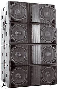 A four–module array of Renkus–Heinz STLA/9 cabinets.