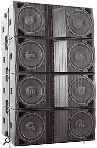 A four–module array of Renkus–Heinz STLA/9 cabinets.