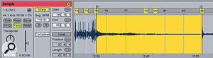 For this more atmospheric section in the drum track the Complex Warp mode worked much better than the Beat mode used for the rest of the recording.