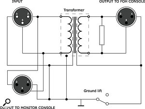 Schematic of a transformer mic splitter.