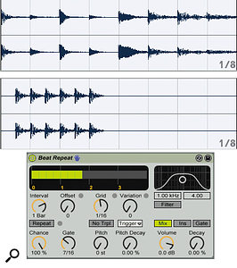 A one‑bar drum loop is shown at the top. Beat Repeat repeats the kick‑drum hit played on the first beat at the next six 16th‑notes, as shown in the second audio clip. The Beat Repeat default settings (shown at bottom) produce a mix of the two audio clips.