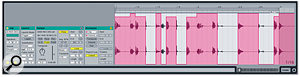 A Volume envelope quantised to the grid is a quick way to cut beats from a loop.