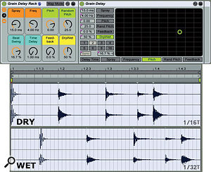 2: Asimple eighth-note swing drum loop (middle) is processed with an eighth-note Grain Delay (top). The Spray and Random Pitch settings produce small timing and pitch variations that are heard as slight alterations in the drum sounds. The Beat Swing setting adds a32nd-note triplet to the eighth-note delay, which emphasises the swing feel. The bottom graphic shows the hits added by the Grain Delay.