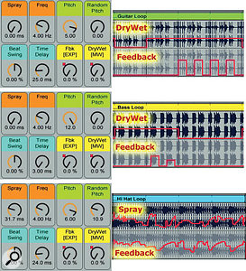3: Here I've automated Grain Delay's Feedback, Spray and Dry/Wet controls to turn afour-bar rhythm-section pattern (guitar, bass and hi-hat) into amore interesting 16-bar pattern. Alternatives to automation include MIDI controllers such as mod wheel and expression pedal or manipulating Grain Delay's on-screen XY controller. (You cannot use the XY controller for parameters that are mapped to Macro knobs.)