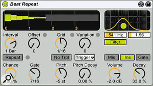 The graphic at the top left of the control panel shows the effect of the Volume and Decay settings: the second green bar illustrates a 2dB drop for the first repeat, and the remaining bars illustrate 33 percent volume drops thereafter. Notice the faint grey bar in the graphic; this shows the output level of the source audio and reflects your choice of the Mix, Ins, or Gate button. The Volume, Filter and Pitch settings affect only the processed audio.