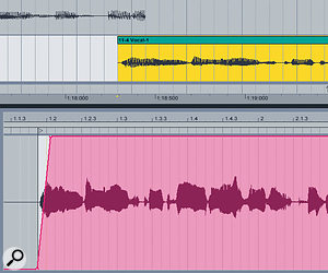 With the Clips overlapped on two tracks, you can fake a crossfade with volume envelopes.