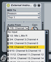 Reason's Hardware Device allows you to connect rack objects to separate Rewire channels.