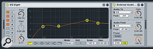 The External Audio Effect lets you add hardware inserts anywhere in a track's Device Chain.