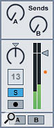The orange dot shows the actual fader level after the volume envelope is taken into account.