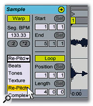 If your Clip is already at the project tempo (in this case, it's the famous 'locked groove' tempo of 133.33 bpm), selecting Re-pitch will take care of any tiny timing differences without having to invoke a more complex stretching algorithm.