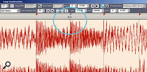 This drum loop was played by a real drummer, so the timing isn't perfect. Sonar originally put markers on every 16th note; but the one circled in blue was moved slightly late compared to the beat in order to fall exactly on the note transient, thus producing the best possible Acidisation.