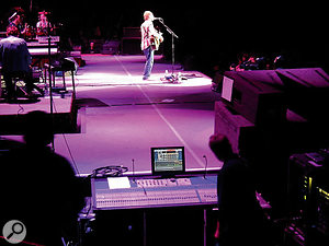 David Gray on stage at New York's Madison Square Garden. Chris is at the side of the stage by the console.