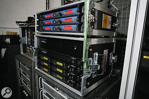 Radio mic systems are used extensively on the show. These racks house Sennheiser E500 and Shure S2 radio mic receivers.