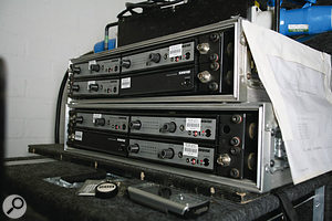A mixture of in-ears and wedges are used on TOTP for monitoring.  This rack contains Shure PSM700 in-ear receivers.