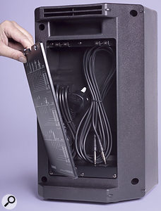 The useful storage compartment is ideal for the mains lead and 5m speaker cables that are included with the system. The mixer slots into the storage space on whichever speaker isn't being used for cables.