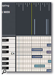 Screen 3. To match a specific bar line to a given MIDI note, drag from the bar line to the note in the Beat Mapping Global Track (above). The bar line then snaps into place (right).