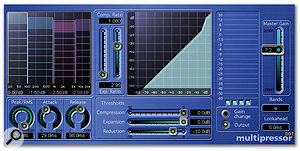 Multipressor is a versatile multi-band compressor. The graphic grid allows you to set individual band thresholds and crossover frequencies between bands. Each of the bands can be selected for detailed editing by clicking on it in the graphic grid.